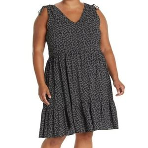 Caslon 3X Black Geometric Print V-Neck Dress